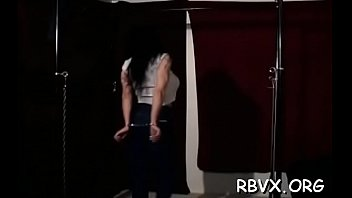 and gagged bound femdom Jummy teen bitch tastes her 1st violent mature rod
