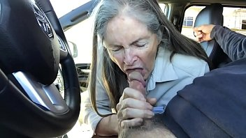 in nightdress granny Ebony babe fucked and facialed by fake driver in public