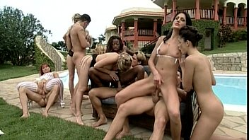 lot a girls of naked Fuking in pool